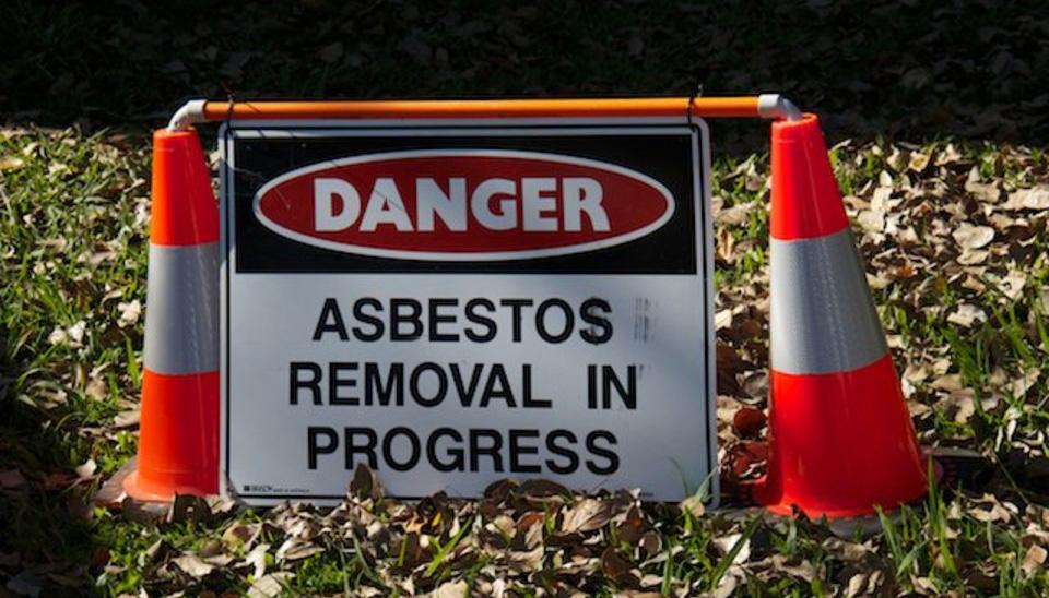 asbestos sign and cones